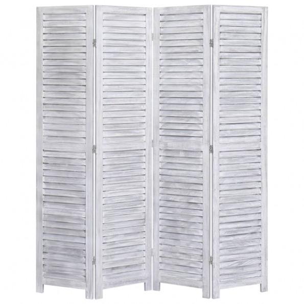 4-panels rumdeler 140 x 165 cm træ grå