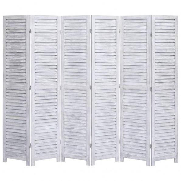 6-panels rumdeler 210 x 165 cm træ grå