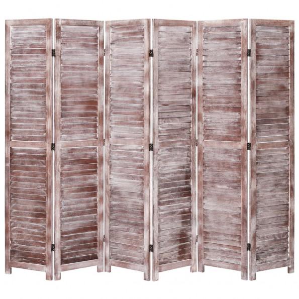 6-panels rumdeler 210 x 165 cm træ brun