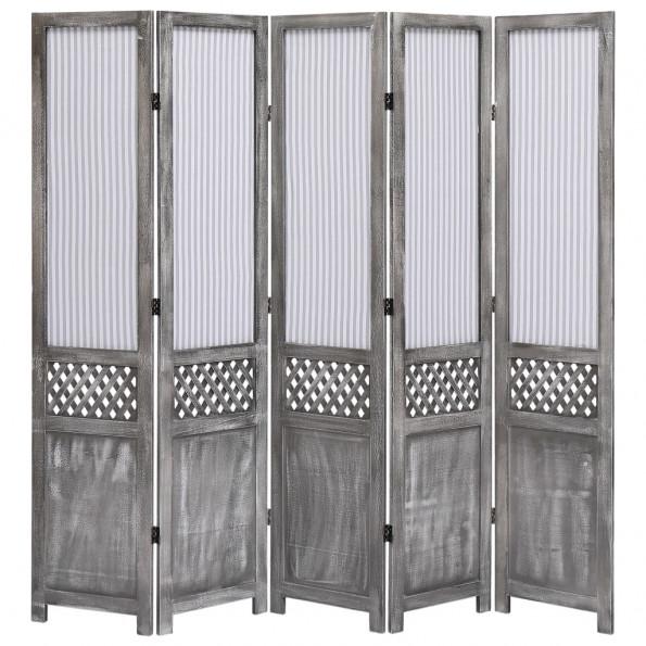 5-panels rumdeler 175 x 165 cm stof grå