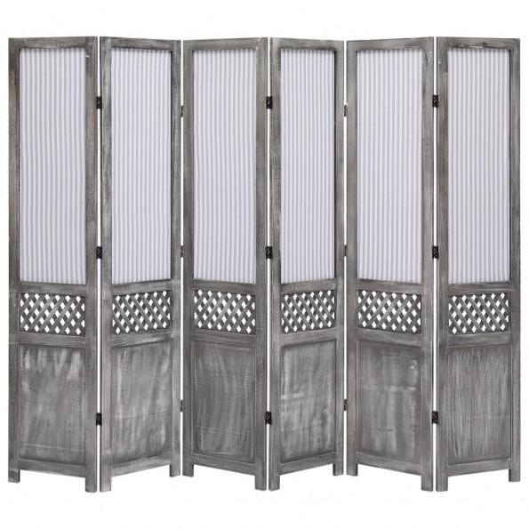 6-panels rumdeler 210 x 165 cm stof grå