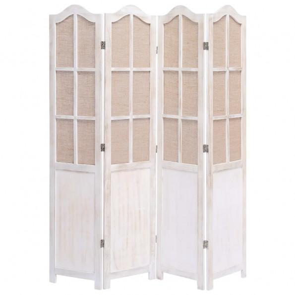 4-panels rumdeler 140 x 165 cm stof hvid