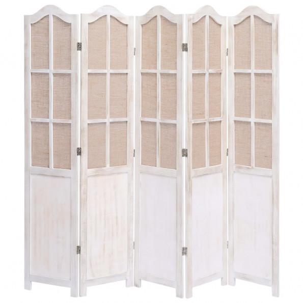 5-panels rumdeler 175 x 165 cm stof hvid
