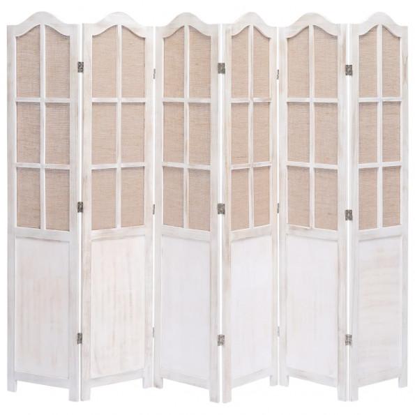 6-panels rumdeler 210 x 165 cm stof hvid