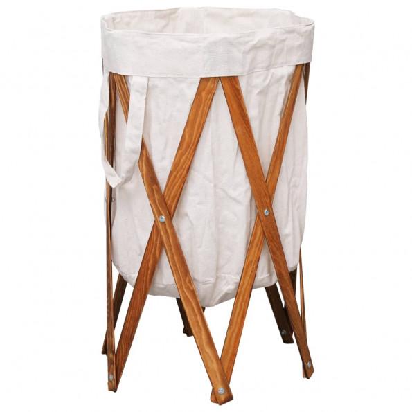 Foldbar vasketøjskurv træ og stof cremefarvet