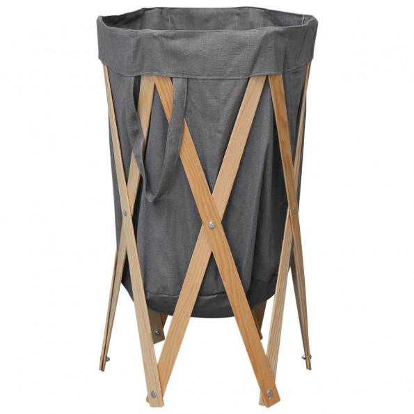 Foldbar vasketøjskurv træ og stof grå