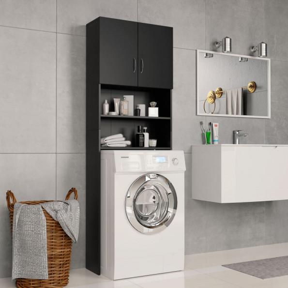 Vaskemaskineskab 64 x 25,5 x 190 cm spånplade sort