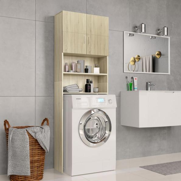 Vaskemaskineskab 64x25,5x190 cm spånplade sonoma-egetræsfarve