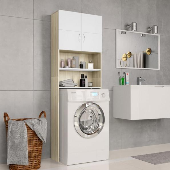 Vaskemaskineskab 64 x 25,5 x 190 cm spånplade hvid sonoma-egetræsfarve