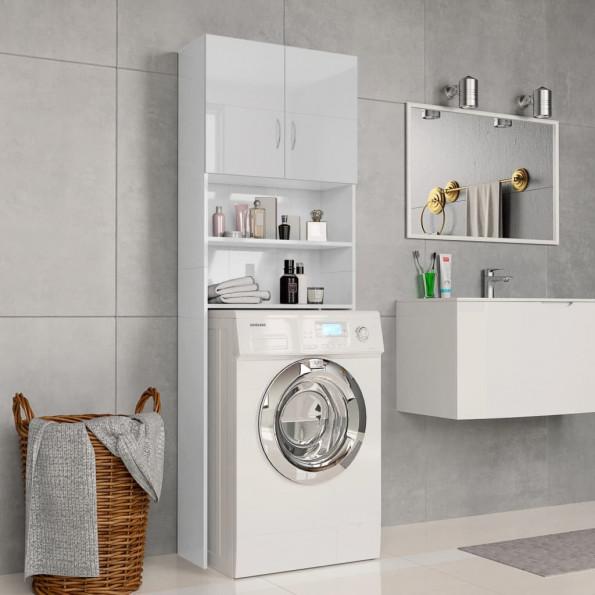 Vaskemaskineskab højglans 64 x 25,5 x 190 cm spånplade hvid