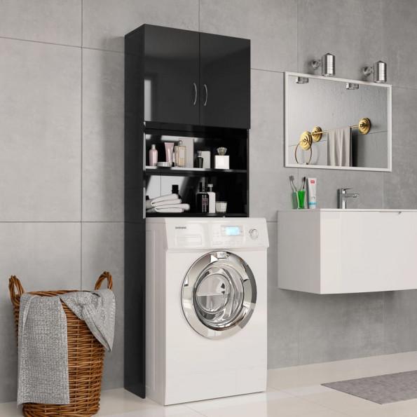 Vaskemaskineskab højglans 64 x 25,5 x 190 cm spånplade sort