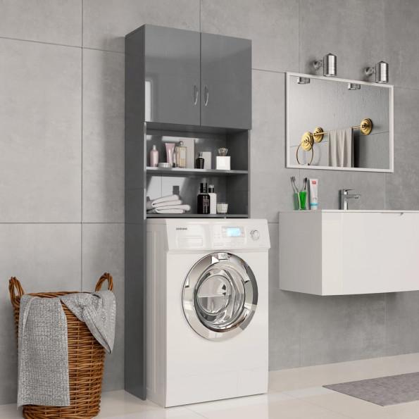 Vaskemaskineskab højglans 64 x 25,5 x 190 cm spånplade grå