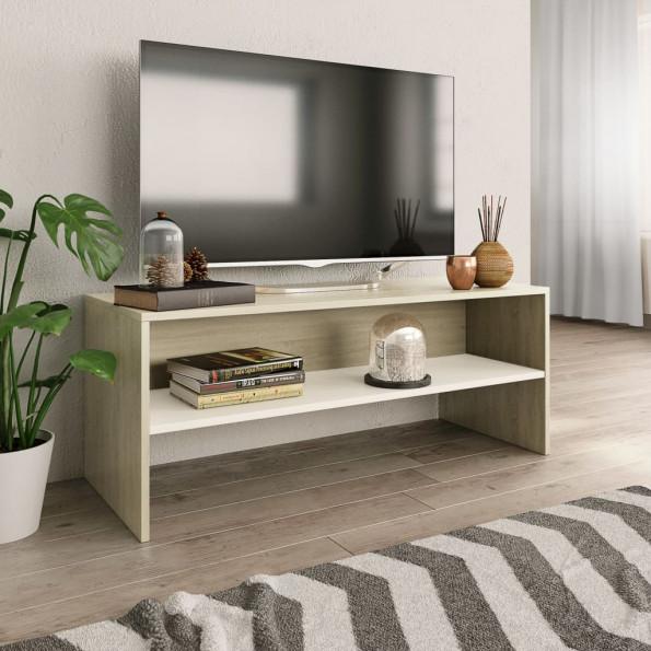 Tv-skab 100 x 40 x 40 cm spånplade hvid sonoma-egetræsfarve