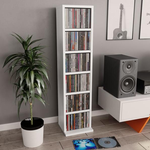 CD-reol 21 x 16 x 88 cm spånplade hvid
