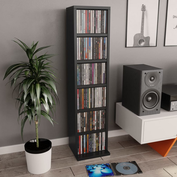 CD-reol 21 x 16 x 88 cm spånplade sort
