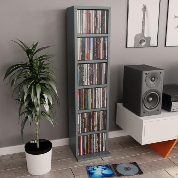 CD-reol 21 x 16 x 88 cm spånplade grå