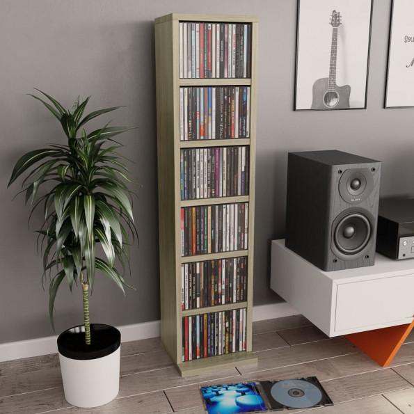 CD-reol 21 x 16 x 88 cm spånplade sonoma-egetræsfarve