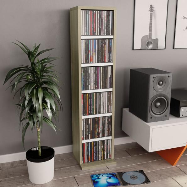 CD-reol 21 x 16 x 88 cm spånplade hvid og sonoma-egetræsfarve