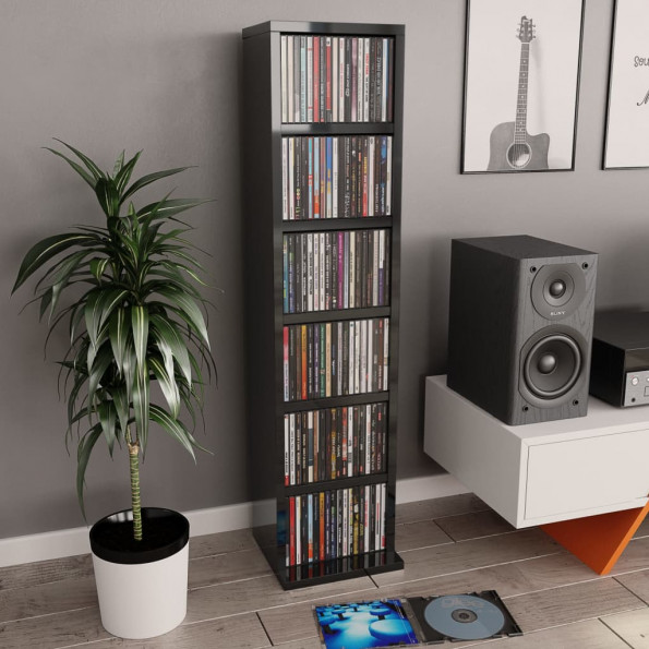 CD-reol 21 x 16 x 88 cm spånplade sort højglans
