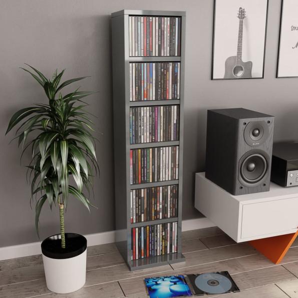 CD-reol 21 x 16 x 88 cm spånplade grå højglans