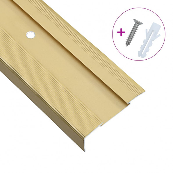 15 stk. L-formede trappelister 100 cm aluminium guldfarvet