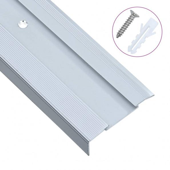 15 stk. trappelister L-facon 134 cm aluminium sølvfarvet