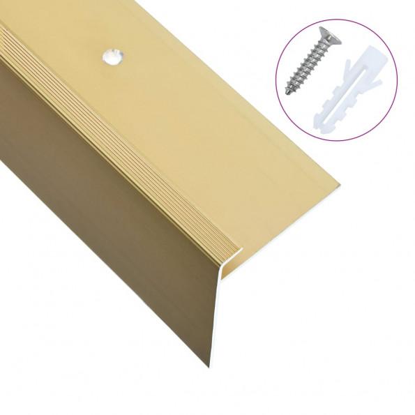 15 stk. F-formede trappelister 100 cm aluminium guldfarvet