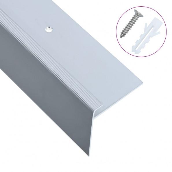 15 stk. trappelister F-facon 90 cm aluminium sølvfarvet