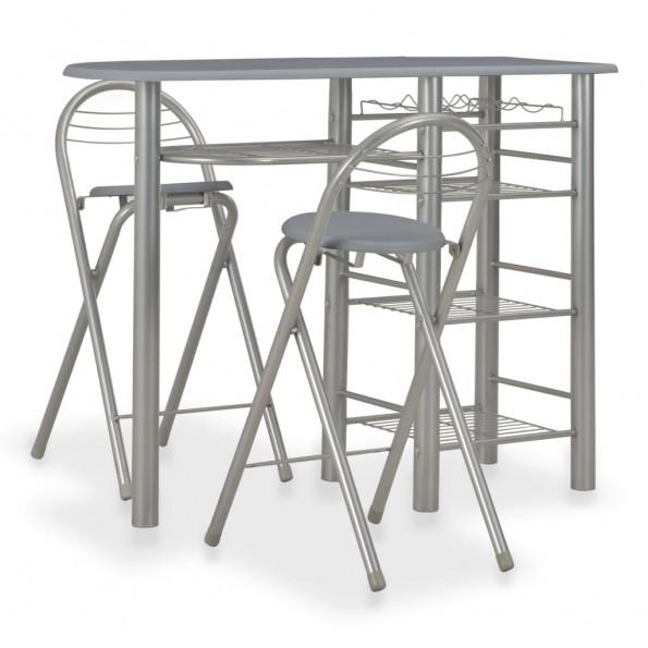 Barsæt 3 dele med hylder træ og stål grå