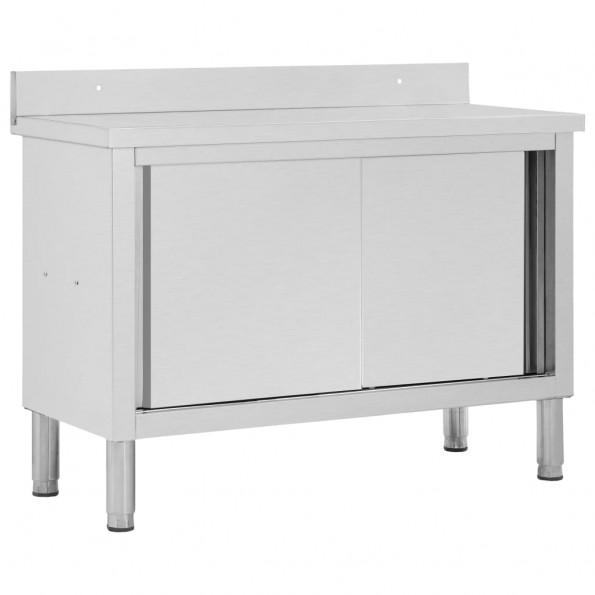 Arbejdsbord med skydedøre 120 x 50 x 95 cm rustfrit stål