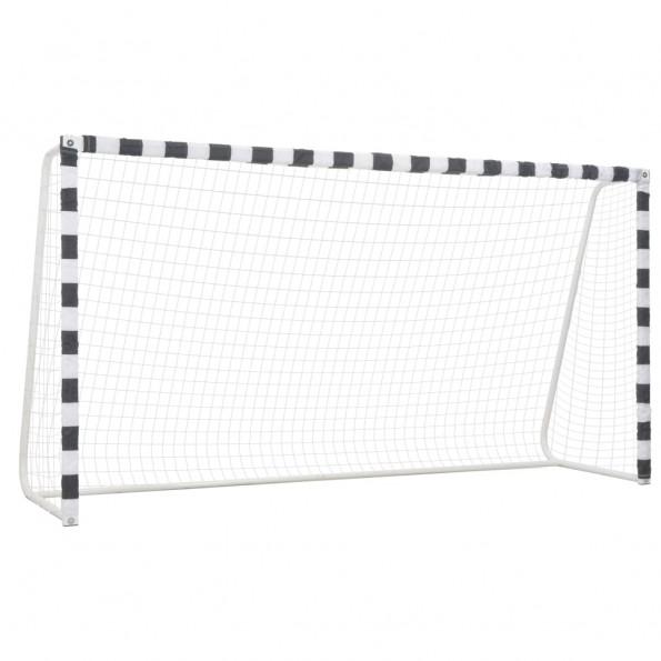 Fodboldmål 300 x 160 x 90 cm metal sort og hvid