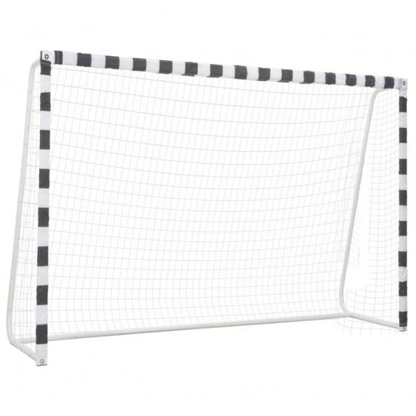 Fodboldmål 300 x 200 x 90 cm metal sort og hvid
