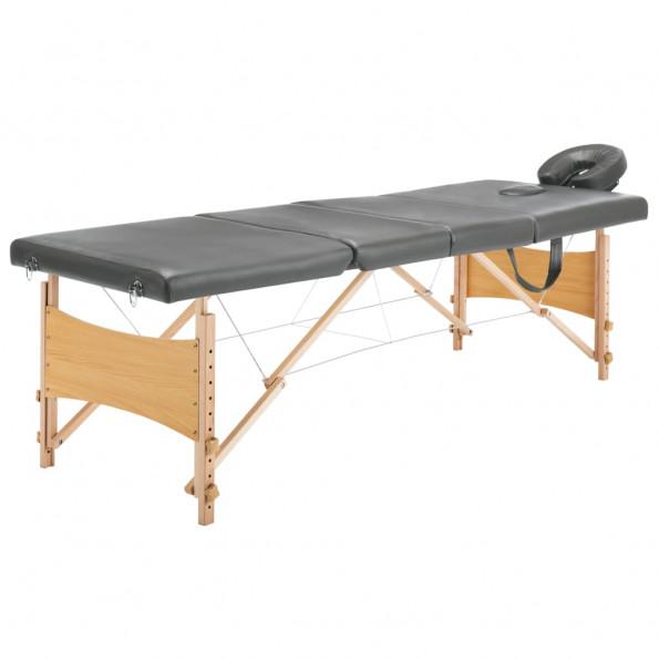 Massagebord med 4 zoner træstel 186 x 68 cm antracitgrå