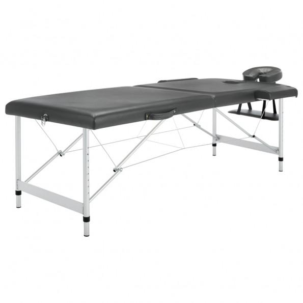 Massagebord med 2 zoner aluminiumsstel 186 x 68 cm antracitgrå