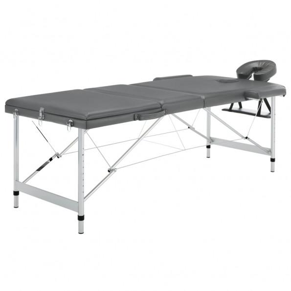Massagebord med 3 zoner aluminiumsstel 186 x 68 cm antracitgrå