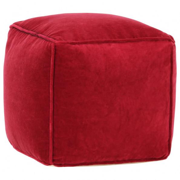 Puf bomuldsfløjl 40 x 40 x 40 cm rubinrød