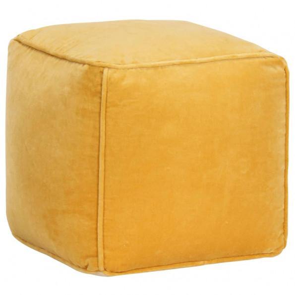 Puf bomuldsfløjl 40 x 40 x 40 cm gul