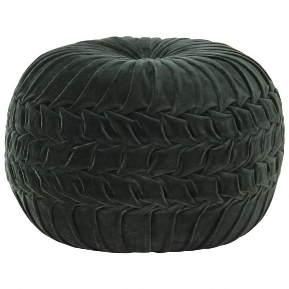 Puf bomuldsfløjl smock-design 40 x 30 cm grøn