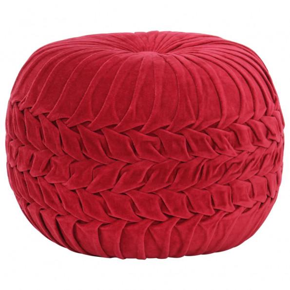 Puf bomuldsfløjl smock-design 40 x 30 cm rød