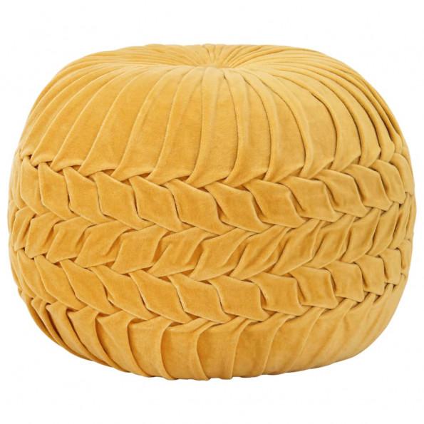 Puf bomuldsfløjl smock-design 40 x 30 cm gul
