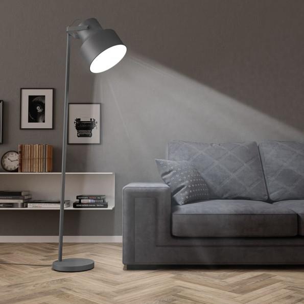Gulvlampe E27 metal grå