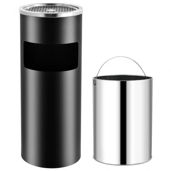 Askebæger med integreret affaldsspand 30 l stål sort