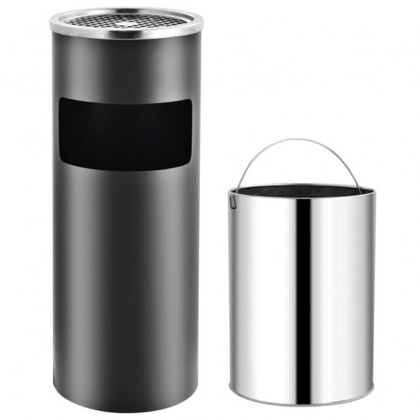 Askebæger med integreret affaldsspand 30 l stål grå