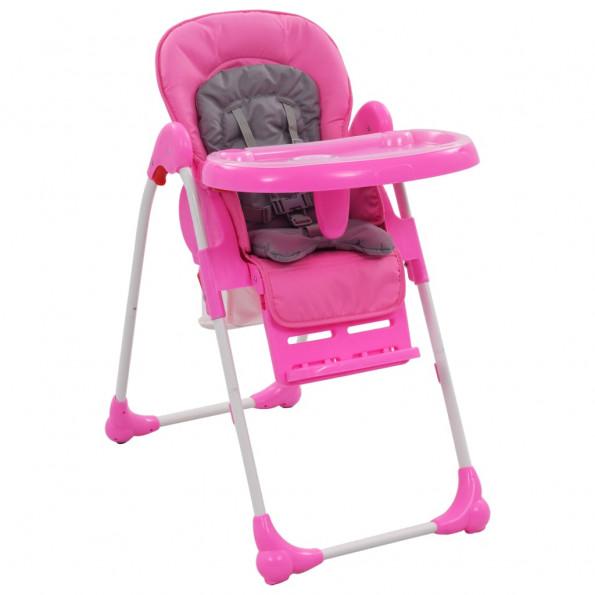 Højstol pink og grå