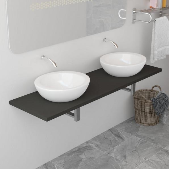 Badeværelsesmøbel 160 x 40 x 16,3 cm grå