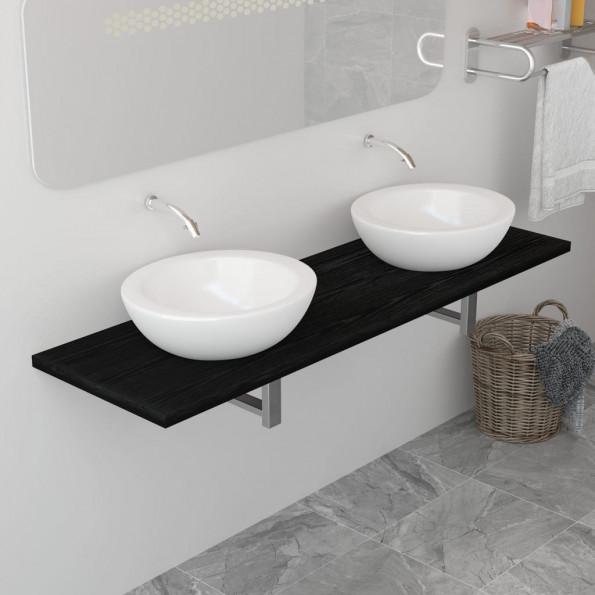 Badeværelsesmøbel 160 x 40 x 16,3 cm sort