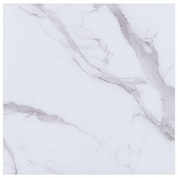 Bordplade 70 x 70 cm glas med marmortekstur firkantet hvid