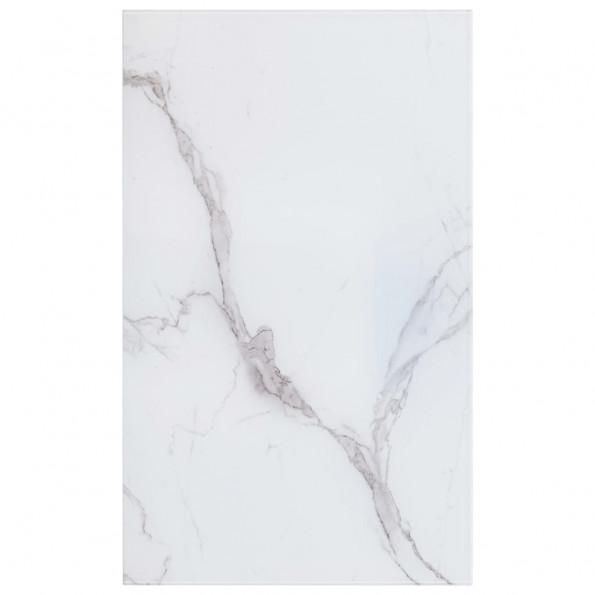 Bordplade 100 x 62 cm glas med marmortekstur rektangulær hvid