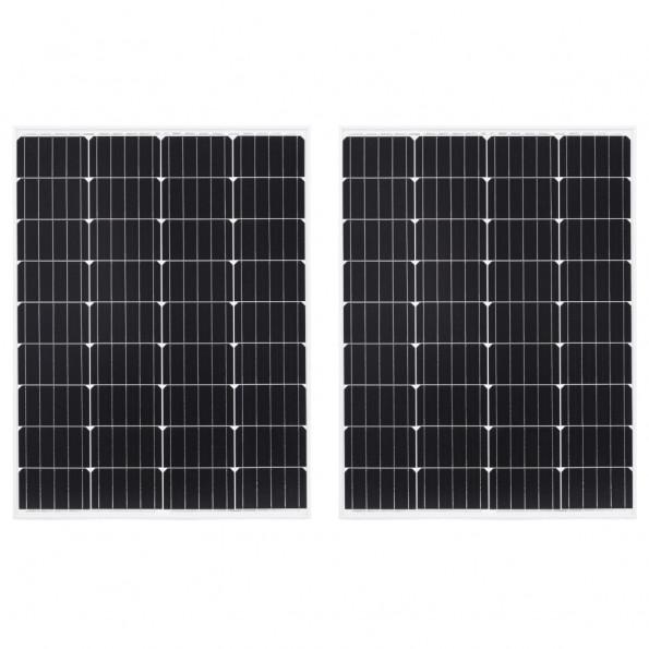Solcellepaneler 2 stk. 100 W aluminium og sikkerhedsglas