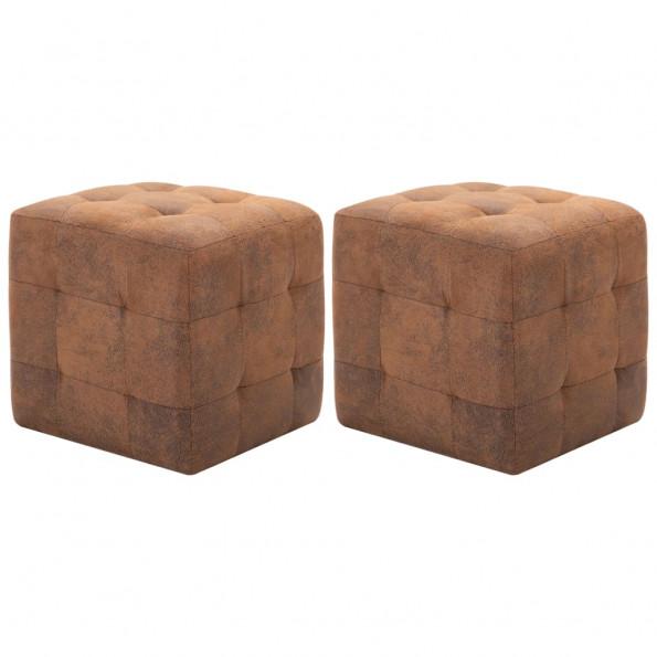Puf 2 stk. 30 x 30 x 30 cm imiteret ruskind brun